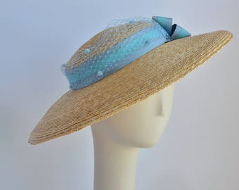 Fits all - Straw Bergere with turquoise ribbon