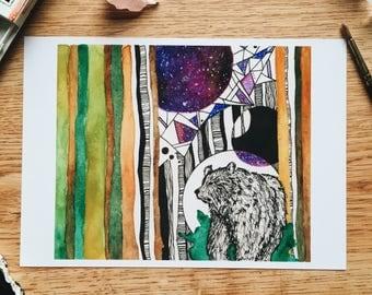 Instinct - Geo Collection - Original Watercolor Painting - PRINT - 5x7
