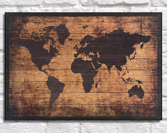 Wood world map wood wall art wood map travel gift for te gusta este artculo gumiabroncs Gallery