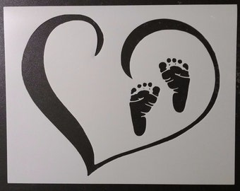 Baby Feet Foot Prints Footprints in Heart Custom Stencil FAST FREE SHIPPING