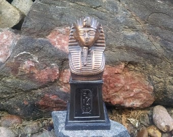 Vintage Egyptian King Tut statue copper plated white metal