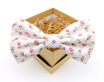 Pink and Purple Floral Bow Tie - Mens Pre-Tied Bow Tie - Womens Pre-Tied Bow Tie - Vintage Bow Tie - Seersucker Wedding Bow Tie