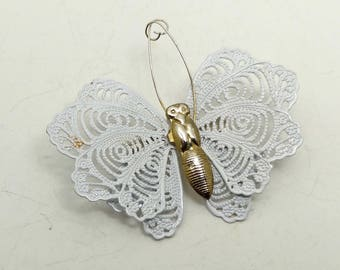 Vintage Metallic White Lace Butterfly Brooch