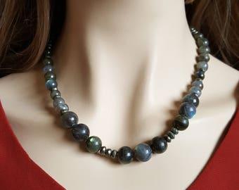Labradorite Pyrite Bead Necklace