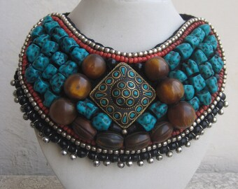 Turquoise and Coral Boho Style Collar Necklace/Tibetan Necklace/Multi Color Beaded Necklace/Statement Necklace/Bib Necklace