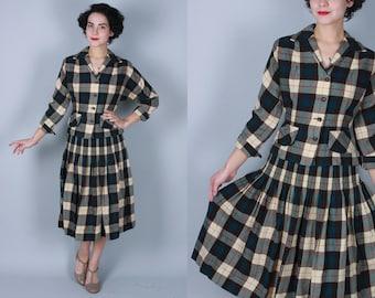 Vintage 1940s Suit | Wool Skirt Suit in Brown, Cream, Red, & Dark Teal | Small