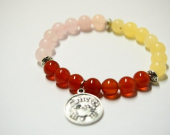 Cancer Bracelet with Calcite, Carnelian & Rose Quartz Gemstones/Astrology Jewelry for Star Signs/Horoscope Bracelet