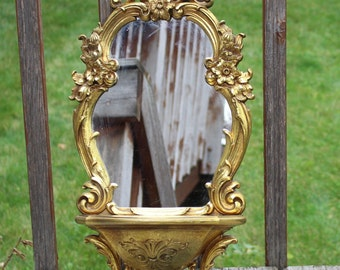 Vintage Syroco Gilt Mirror with Shelf Ornate Carved French Molded Resin Hollywood Regency Shelf Mirror Dart Home Interiors 1970