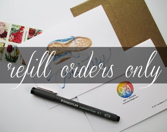 Custom Stationary Refill, Handmade Watercolor Note Cards