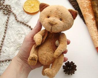 Teddy cat Handmade Stuffed animal Toy cat Artist teddy cat Little teddy cat White cat Art Ooak 7 Inches Free shipping