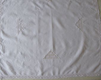 Vintage linen tablecloth with lace inserts and trim