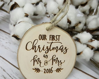 Our First Christmas as Mr and Mrs - Christmas Ornament - Our First Christmas Ornament - Wood Slice Ornament - Christmas Ornament