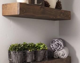 Free Shipping ANY Dimension Rustic floating shelf, Cedar wood, Dark Walnut Finish