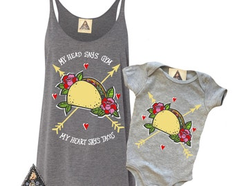TACO LOVE Mommy and Me / TACO Cinco De Mayo Guac Taco Baby Fast Food, Foodie, Womens Tank and Baby shirt bodysuit /Taco shirt