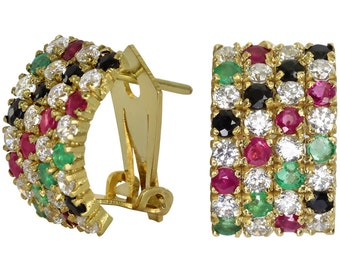 Sapphire Huggie Earrings With Rubies And Emeralds