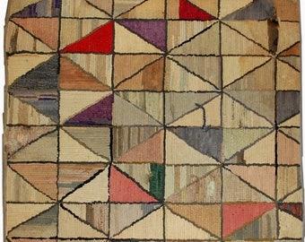 ON SALE 20% Off 2' X 2.1' ( 61cm X 64cm) handmade antique geometric square American hooked rug 1880