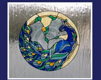 Peacock circular window cling handpainted for glass & window areas, reusable faux stained glass effect decal, static cling suncatcher decals