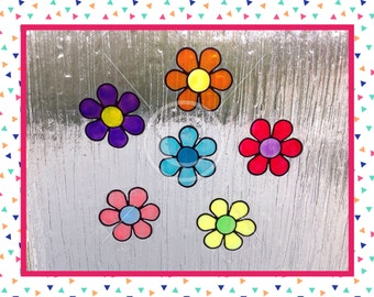 Flower Flowers window cling set of 6 for glass & window areas, reusable faux stained glass effect decal, static cling suncatcher decals