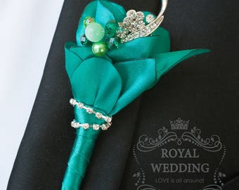Wedding Boutonniere Buttonhole Grooms Boutonniere Jewelry Boutonniere Emerald Green Boutonniere Fabric Boutonniere Groomsman Green Wedding
