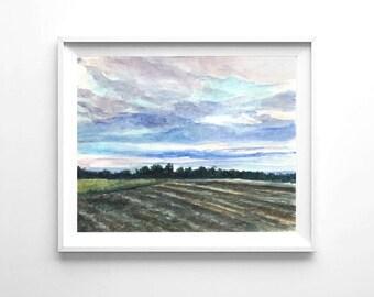 Instant download watercolor painting, printable sunset landscape watercolor print, nature print, landscape painting sunset wall art print