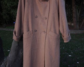 Vintage 80s camel doublebreasted oversized military wool mohair coat made in USA