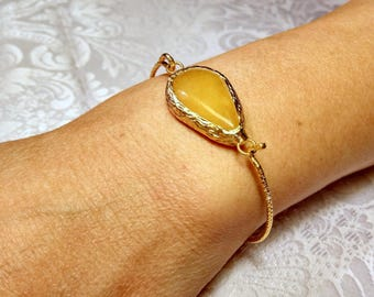 Yellow tear drop  bracelet, gold plated, semiprecious gemstone, jewelry and sentimental balance