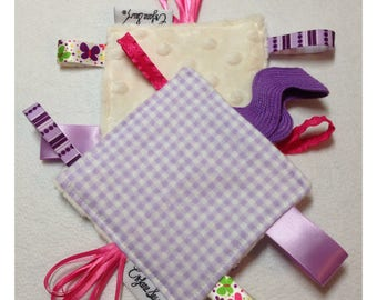 Gingham tag toy, sensory toy, baby crinkle paper, crinkle tag toy, purple baby toy, plaid teething toy, gingham baby