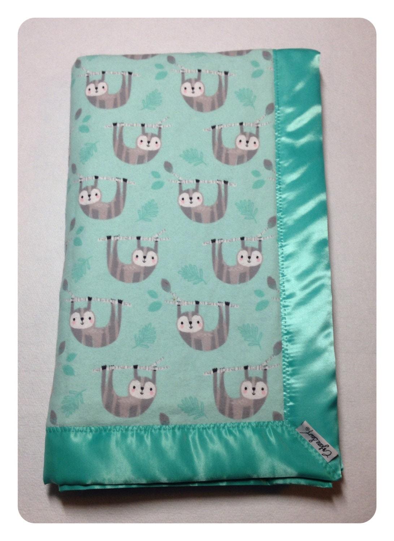 Sloth Baby Blanket Receiving Blanket Swaddler Flannel Baby