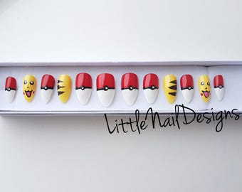 Pokemon Pikachu Hand Painted False Nails / Gifts for her | Little Nail Designs