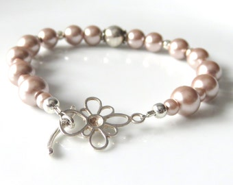 Champagne Pearl Bracelet, Glass Pearls and Sterling Silver, Bridal Party Jewelry, Mother of the Bride or Groom, Dainty Floral Pearl Bracelet
