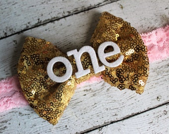 Pink and gold 1st birthday headband, first birthday bow, pink and gold cake smash outfit, 1st birthday party gift