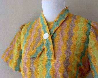 1950s Secretary Style Wiggle Dress - Bright Yellow Blue Green Turquoise Purple - Matching Belt Crossover Button Detail - Size Medium / Large