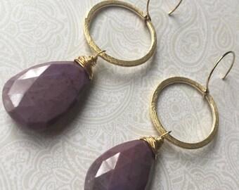 Purple Jade Party Earrings Gold Wire Wrapped Handmade Gemstone Jewelry