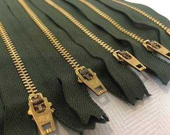 "YKK Army Green (567) #4.5 Brass Zipper 7"" Closed Bottom (5 Pack)"
