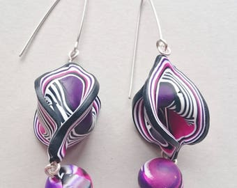 Purple and pink polymer clay earrings