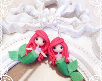 Chibi couple earrings Polymer Clay Fimo Earrings ~ Cute Kawaii Ariel Disney Princess Little Mermaid Mermaid Princess tiny Handmade gift Hai