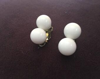 Marvella Stacked White Plastic Bead Earrings 0937