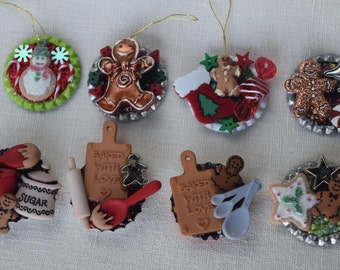 Christmas Ornaments, Refrigerator Magnets and Pins (Brooches)