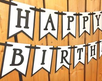 custom black white happy birthday banner, birthday banner, banner, happy first birthday, first birthday, birthday banner boy, birthday sign
