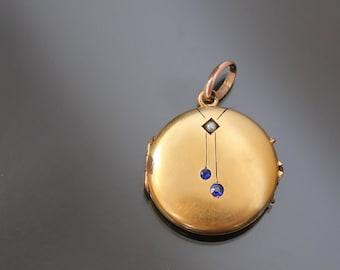 Antique Art Nouveau Locket  Yellow Gold Plate. Monogrammed.