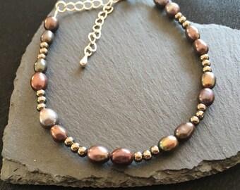 Pearl Bracelet, Dark Pearl Bracelet, Real Pearls Bracelet, Slate/Pewter, dark Freshwater Pearls beaded Bracelet, Freshwater Pearl Bracelet