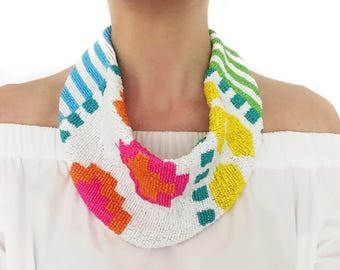 Mercer Beaded Scarf Necklace in 7-Color Aztec Colorway #1