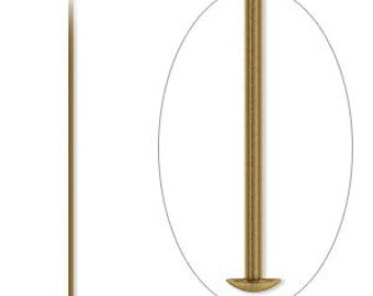 Antiqued Gold Head Pins, 2 inch, gold plated headpin, 21 gauge, 50 each, D105b