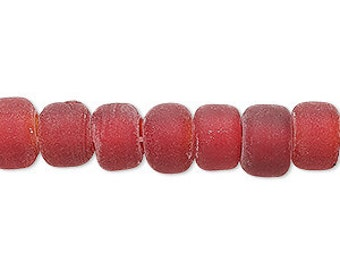 Red Crow Beads, Sea Glass Look, Glass Beads, 9x7mm, 20 each, D946