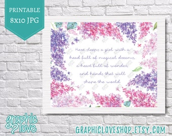 Printable 8x10, Here Sleeps a Girl Quote | High Resolution JPG File, Instant Download