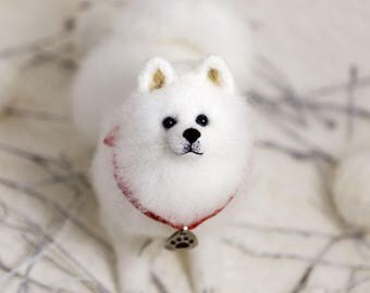 Samoyed miniature etsy puppy samoyed gift for her gift for him cute lover kawaii miniature figurine stuffed plushies dog voltagebd Image collections