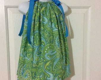 Green Paisley Pillowcase Dress Size 18m