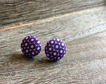 Purple Fabric Button Earrings