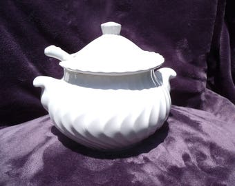 Milk Glass Swirl Soup Tureen