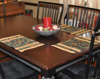 Holiday Green and Tan Placemats